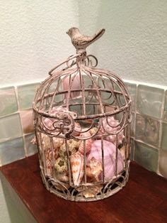 37 Cool Seashells Decoration Ideas : 37 Cool Seashells Decoration Ideas With Shells For Bird Cage Ornament Seashell Crafts, Beach Crafts, Seashell Projects, Diy Crafts, Shell Display, Photo Summer, Vintage Space, Tips & Tricks, Bird Cages
