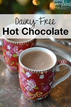 Dairy-Free Hot Chocolate | The perfect warm-up treat when it's cold and wintry outside? A cup of hot chocolate, of course! Unfortunately, if you're staying away from dairy, store bought mixes usually contain it -- along with a host of other unhealthy ingredients. The good news? It's super easy to make dairy-free hot chocolate! | TraditionalCookingSchool.com