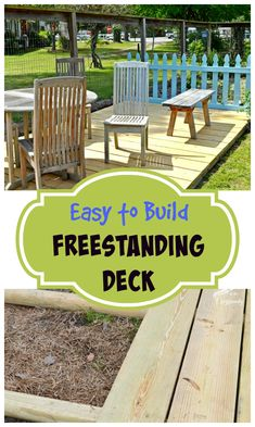 Deck in our Garden Diy a simple, freestanding deck! Just in time for Summer with Cottage At The CrossroadsDiy a simple, freestanding deck! Just in time for Summer with Cottage At The Crossroads Backyard Projects, Outdoor Projects, Diy Projects, Freestanding Deck, Jardin Decor, Easy Deck, Quick Deck Ideas, Inexpensive Deck Ideas, Low Deck