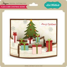 Card that bends and inserts into it's self with christmas tree and gifts