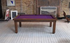 6' English Modern Pool Table in Oak colour #3 with a Purple Hainsworth Smart Cloth, Square Top Frame (#2), Legs #7, Draw without the button,  found on www.Luxury-Pool-Tables.co.uk & www.Luxury-Games-Tables.co.uk