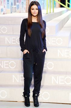 Trending Fashion Style: Jumpsuit. - Selena Gomez in casual black jumpsuit at the Adidas NEO Runway Show during Spring Summer 2015 NYFW.