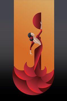 Flamenco de la mujer artista apasionada en la dramática pose expresivo. estilizada Art Deco • Also buy this artwork on wall prints, apparel, stickers y more.