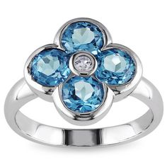 Miadora Sterling Silver Swiss Blue and White Topaz Flower Ring