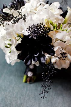 Today's bouquet is totally me. Creamy white florals with painted black succulents (love!) and seeded eucalyptus give this bouquet definite elegant and regal appeal. Gorgeous right? Photos from Style Me Pretty by Four-Studios Trendy Wedding, Dream Wedding, Gold Wedding, Gothic Wedding, Black Succulents, Wedding Bouquets, Wedding Flowers, Bridesmaid Bouquets, Bridesmaids