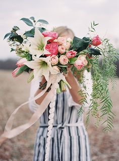 beautiful rose, amaryllis, tulip, and pepper berry bouquet Small Wedding Bouquets, Bride Bouquets, Bridal Flowers, Floral Bouquets, Floral Wedding, Floral Wreath, Colorful Flowers, Beautiful Flowers, Wedding Beauty