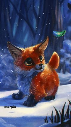 Free animated little fox mobile wallpaper by maryla75 on Tehkseven
