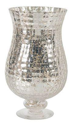 "Mercury Glass Candle Holder 8.3""""x13.8"""""