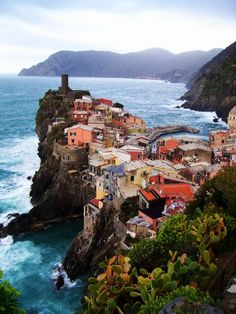Edge of the Sea, Vernazza, Italy. This is one of the towns that make up the 5 towns of the Cinque Terre region. Places Around The World, Oh The Places You'll Go, Places To Travel, Travel Destinations, Places To Visit, Around The Worlds, Italy Vacation, Vacation Spots, Italy Travel