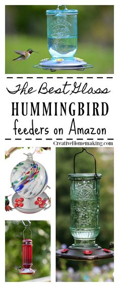 Best glass hummingbird feeders that are unique, artistic, and will become a work of art in your yard or garden. Glass Hummingbird Feeders, Hummingbird Garden, Humming Bird Feeders, Unique Bird Feeders, Homemade Bird Houses, Cheap Landscaping Ideas, Bloom Where Youre Planted, Bird House Kits, How To Attract Birds