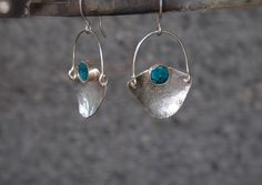 """Sterling Silver Earrings with Peruvian Turquoise """"Inca Earrings"""" on Etsy, $45.00"""