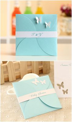 Tiffany Blue Pocket Hochzeitseinladungskarten mit Schmetterling Romantische Tiffany Blue Einladungskarten für Hochzeit 2016