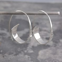 Flared Ribbon Sterling Silver Hoop Earrings #SterlingSilverJewellery