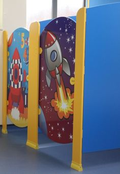 Hippo Cubicles - Rockets  Material - Melamine Faced Board (MFC) Colours - Blue and Yellow