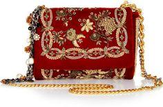 Dolce & Gabbana Red Miss Charles Embroidered Velvet Shoulder Bag