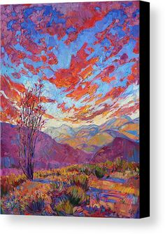 Desert Canvas Print featuring the painting Ocotillo Sky by Erin Hanson