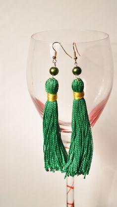 Green Tassle Earrings Long Earrings Tassel Jewelry by IgalardStore