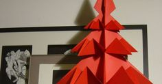 Liked on Pinterest: Items similar to Big RED Origami Christmas Tree . Ornament for home or Christmas Table. on Etsy