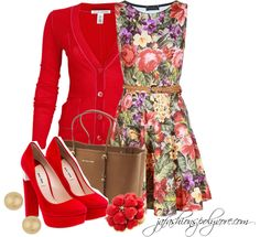 """""""Florals on Fire"""" by jafashions ❤ liked on Polyvore"""