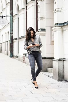 Cloudy with a chance of… chic? Scoop up our new grey jeans, seen here on Savana Claus