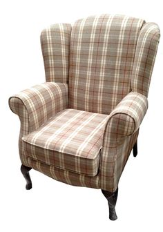 Tartan Linen Fabric Armchair Accent Tub Chair Orange Brown Country Lounge Chair