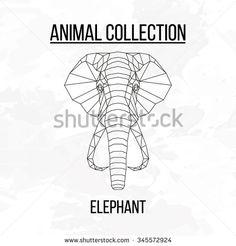 #elephant #head #geometric #lines #silhouette #isolated #background #vintage…