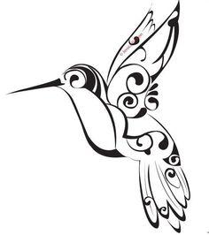 Tribal Hummingbird Tattoo Stencil
