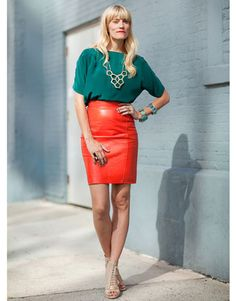 love this color combo. that is the only color leather skirt that i don't own, i need it!