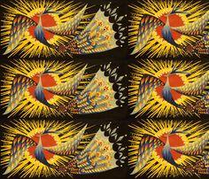vintage retro tribal folk art northwest Aztec traditional phoenix rebirth north west southwest peacocks sun birds native american indian fabric by raveneve on Spoonflower - custom fabric