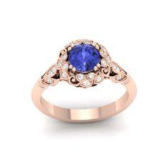 Tanzanite Engagement Ring  in 14k White/Yellow/ Rose Gold Diamond Ring