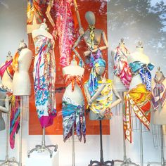"BERGDORF GOODMAN, New York, ""Get creative with your Hermes scarf, a Summer holiday must-have"", pinned by Ton van der Veer"