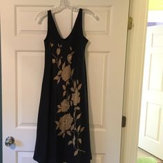 INC 100% silk flower dress, never worn with tags Beautiful flowing Black and Tan silk flower dress INC International Concepts Dresses Midi