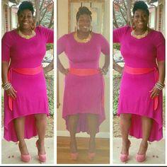 Dress Pink dress with orange belt Dresses High Low