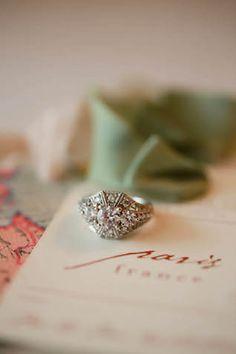Vintage engagement ring | Sarah Goodwin Photography | see  more on: http://burnettsboards.com/2014/06/vintage-travel-inspired-wedding/ #vintage #engagementring