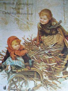old Dutch Christmas postcard Cottage Christmas, Christmas Past, Victorian Christmas, Vintage Christmas Images, Christmas Pictures, Christmas Postcards, Victorian Pictures, Vintage Pictures, Illustrations Vintage