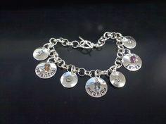 KEEPSAKE Hand Stamped Charm Bracelet with gems by twotimesthefun, $76.00
