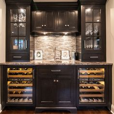 Full height upper cabinets with glass doors Home Wet Bar, Diy Home Bar, Modern Home Bar, Bars For Home, Home Bar Rooms, Wet Bar Basement, Basement Bar Designs, Home Bar Designs, Basement Finishing
