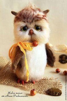 Купить Совенок Филимоша. - коричневый, бежевый, белый, сова, сова из шерсти, сова игрушка