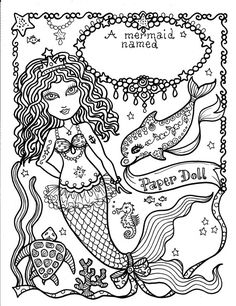 MERmaiD Paper Doll 5 pages to color and cut and by ChubbyMermaid