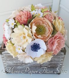 Paper Bouquet - Paper Flowers - Wedding Bouquet - Bride or Bridemaid - Ms. Bella - Customize Your Colors - Made To Order
