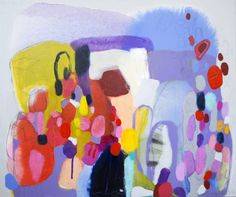 "Saatchi Art Artist Claire Desjardins; Painting, ""On My Mind"" Pink, Purple, Red, Turquoise #art"