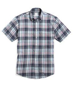 Slim Fit Large Plaid Short-Sleeve Sport Shirt | Brooks Brothers
