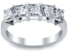 5 stone diamond ring with princess cut diamonds.  This ring has a total carat weight of 2.00 and features F-G color and VS clarity diamonds.  This ring from DeBebians is timeless.