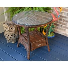 Tortuga Outdoor Resin Wicker Sea Pine Side Table Ships Free within 2 to 4 Weeks Wicker Side Table, Outdoor Side Table, Glass Side Tables, Metal Side Table, Glass Dining Table, Solid Wood Dining Table, Patio Table, Tempered Glass Table Top, Barney Fife