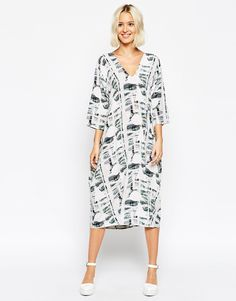 Image 1 ofASOS WHITE Silk Geo Print Midi Dress Absolutely love love love this dress! God! Smartest purchase for summer!