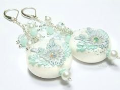 Icy winter is on its way polymer clay dangle earrings by evagirl12, $65.00