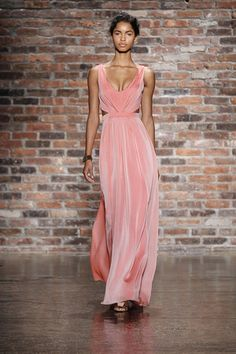 Coral bridesmaid dresses are HERE to stay from Jim Hjelm Occasions. (Photo: Dan Lecca)