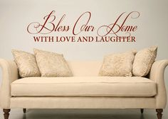 Bless Our Home - Family Quote Vinyl Wall Word Decal Art. $42.00, via Etsy.