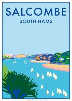 Salcombe - Poster Print x - beckybettesworth Posters Uk, Beach Posters, Railway Posters, Cool Posters, Poster Prints, Devon And Cornwall, City Illustration, Vintage Travel Posters, Poster Vintage