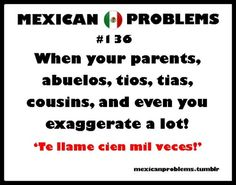"Mexican American;) Problems couldn't help but repin.. mine is, ""how many times do you want me to call you, a million times before you answer?!!!!!"" Lol"